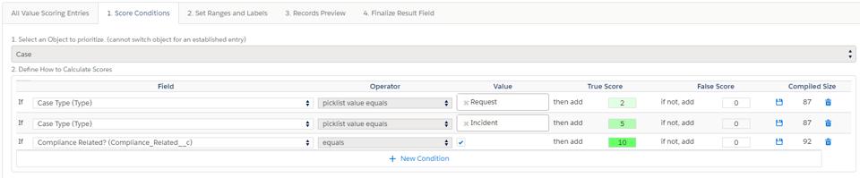 Admin case value scoring conditions