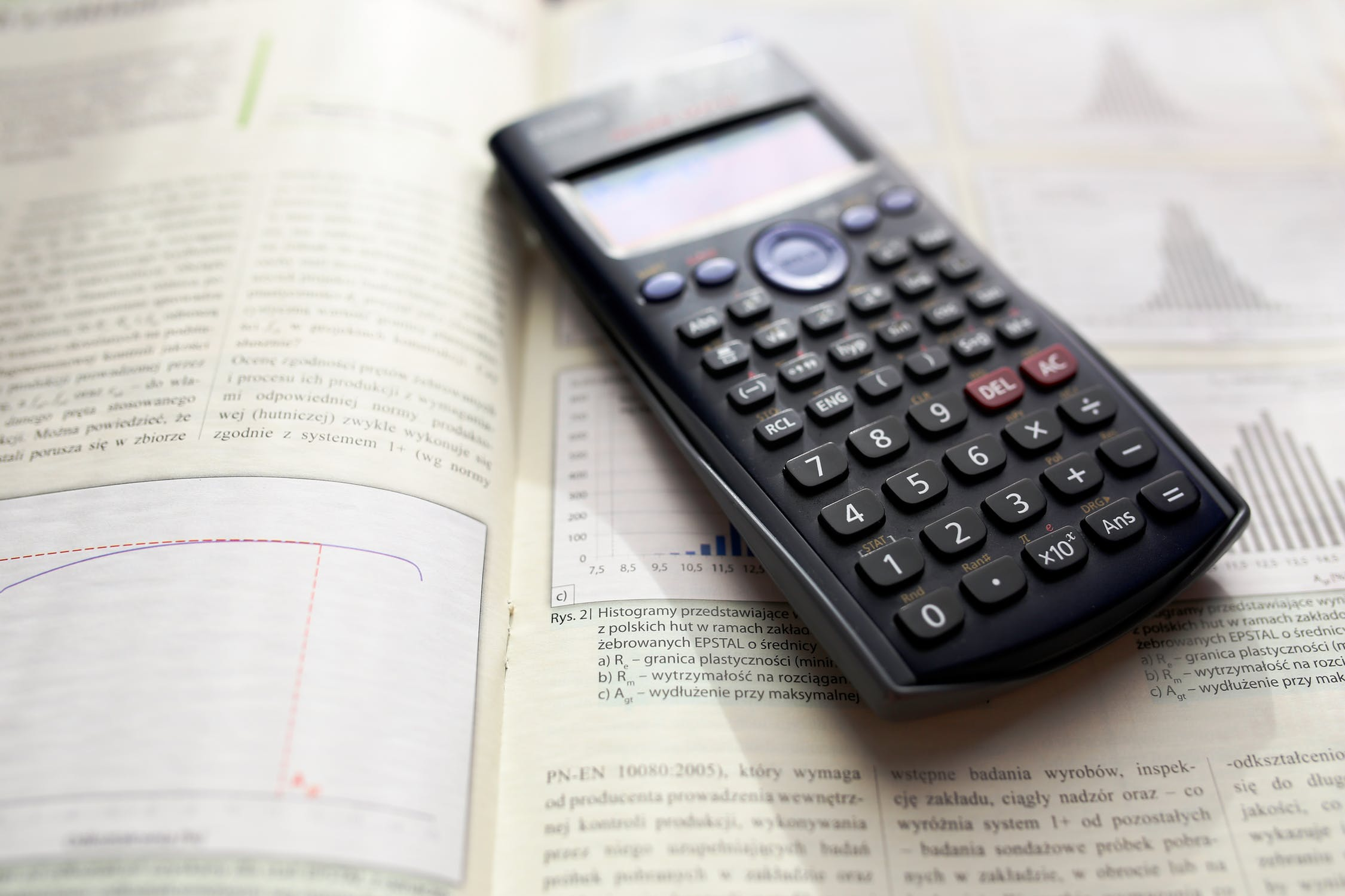 Calculator in math book