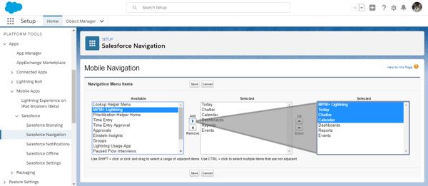 Setup Salesforce mobile navigation menu items for Salesforce project management app Milestones PM+
