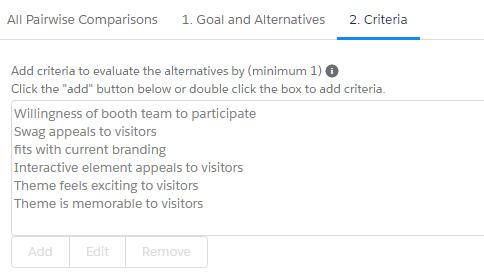 Pairwise criteria
