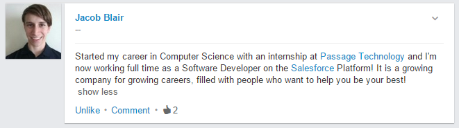 Operations, Support, and Sales Engineering Manager at Passage Technology, Jacob Blair