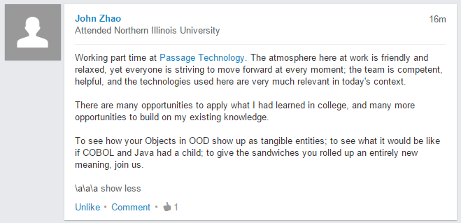 Application Developer at Passage Technology, John Zhao