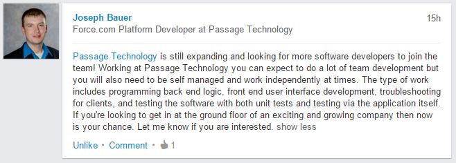Force.com Platform Developer at Passage Technology, Joseph Bauer