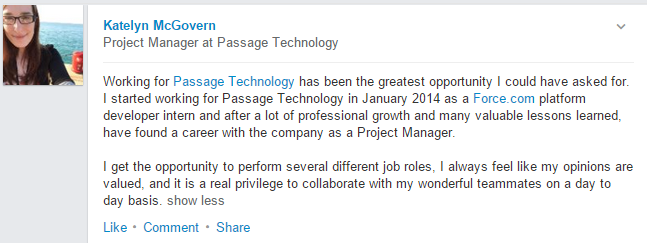 Project Manager at Passage Technology, Katelyn Mc Govern