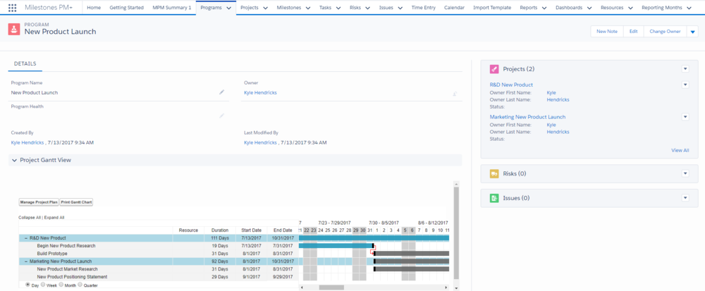 The Program Gantt in Milestones PM+ in this image has Premium Edition features enabled for the Resource and Duration columns as well as drag&drop funcionality.