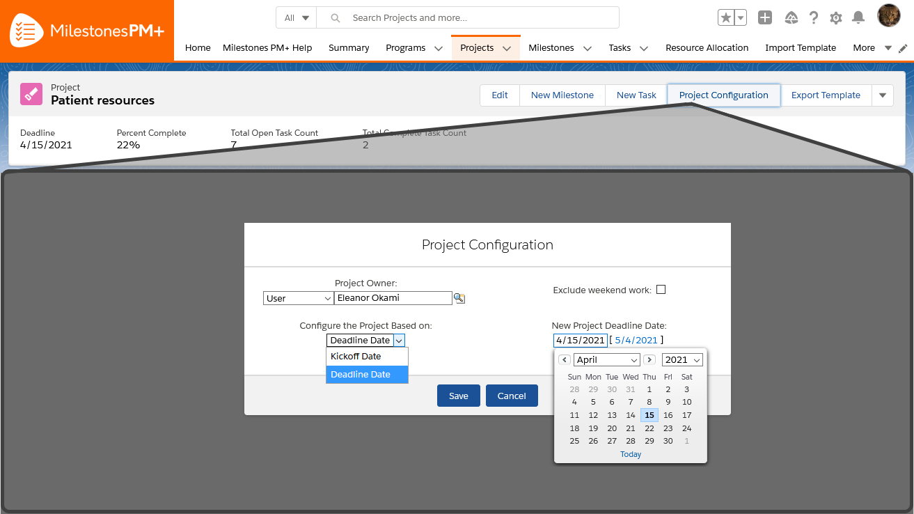 Project date shifting configuration in free Salesforce task management app Milestones PM+