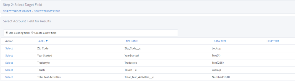 Select the Salesforce object where your target field for the rollup results resides.
