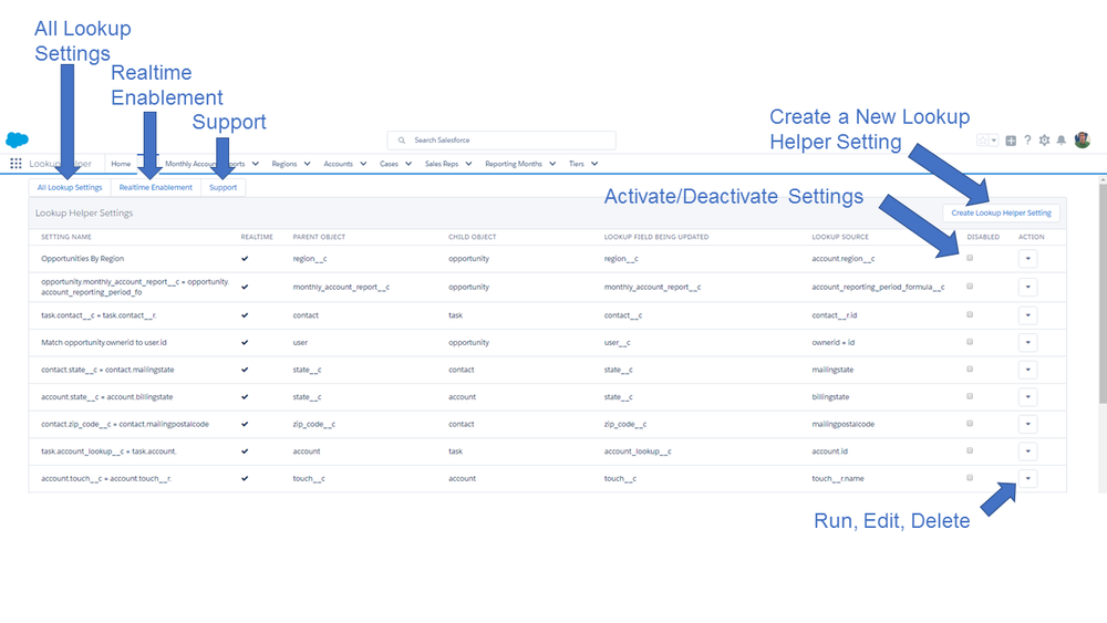 Configure your Lookup Helper settings to automatically populate Lookup Fields in Salesforce.