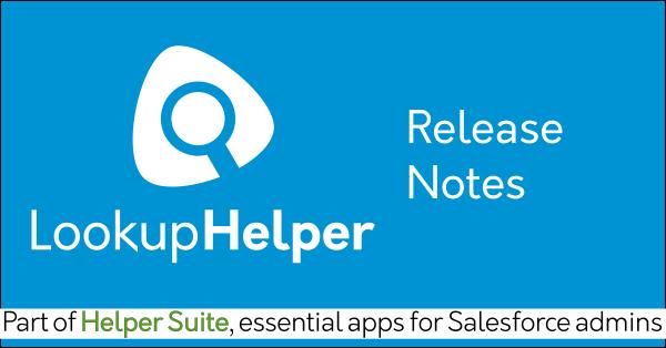Lookup Helper release notes