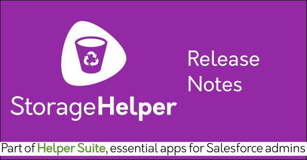 Storage Helper Release Notes